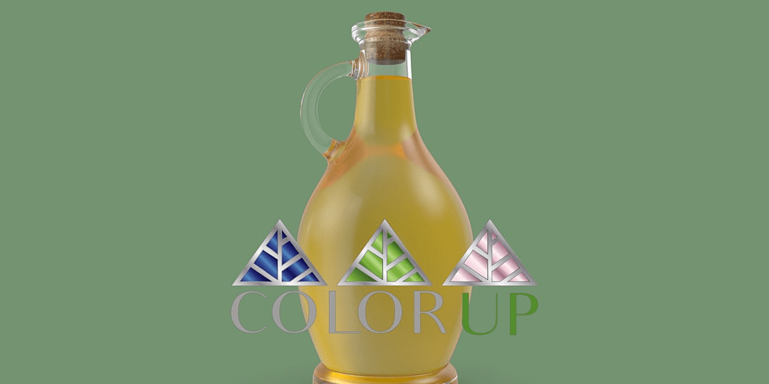 a vile of liquid behind the Color Up logo
